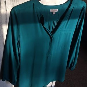 Ladies  XL JM Collection Green Blouse Top